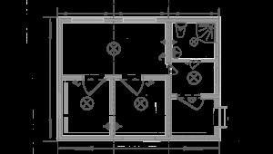 Дачний будиночок 6х7.5м схема