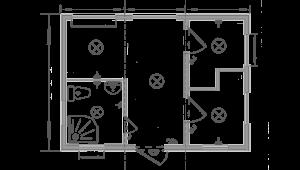 Дачный домик 6х7.5м схема